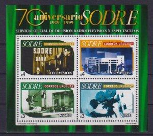Uruguay 1999 The 70th Anniversary of SODRE  (MNH)  - TV, Movie camera, Movie