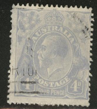 Australia Scott 33 used 4p ultra KGV 1922 CV$11.50 Thin