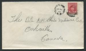NEW BRUNSWICK SPLIT RING TOWN CANCEL COVER CUMBERLAND BAY