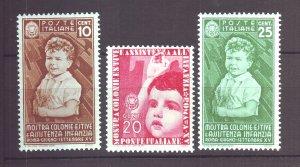 J22593 Jlstamps 1937 italy mh #367-9 children