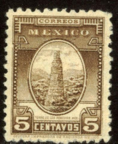 MEXICO 710, 5c REMEDIOS TOWER 1934 DEFINITIVE MINT, NH