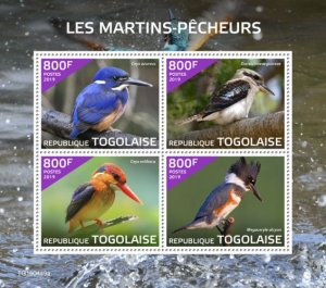 Stamps Togo 2019.- kingfishers (Ceyx azureus; Dacelo novaeguineae; Ceyx erithacu