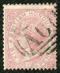 British Honduras SG3 6d Rose No Wmk Perf 14 Fine used