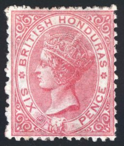 British Honduras 1872 6d Rose WmkCC P12.5 CERT SG 9 Scott 6 MM/MH Cat£450($553)