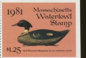 MASSACHUSETTS #8 1981 STATE DUCK  RED BREASTED MERGANSER DECOY by Randy Julius