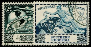 SOUTHERN RHODESIA SG68-69, COMPLETE SET, FINE USED.