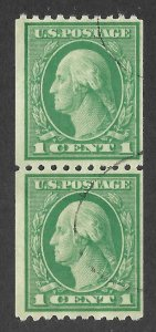 Doyle's_Stamps: Used Scott #441 Pair of 1915 Washington 1c Coil Stamps
