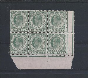 GIBRALTAR 1904-08 ½d DULL & BRIGHT GREEN MARG BLK OF SIX (5 STAMPS MNH) SG 56
