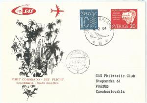 72151 - Postal History - FIRST FLIGHT: SWEDEN to South America via Czechoslovak