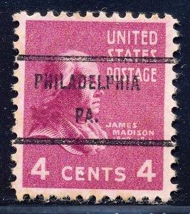 Philadelphia PA, 808-71 Bureau Precancel, 4¢ Madison