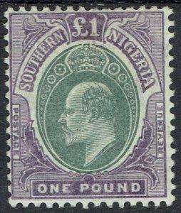 SOUTHERN NIGERIA 1904 KEVII 1 POUND DIE B WMK MULTIPLE CROWN CA
