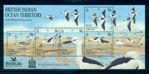 B.I.O.T. - Sc# 238. 2001 Birds. Souv. Sheet. MNH $13.00.