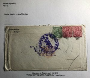 1916 Rangoon Burma India Censored Baptist Missionary Cover To Boston Ma USA