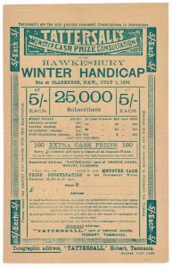 (I.B) Australia Cinderella : Tattersall's Ticket 5/- (Clarendon 1899)