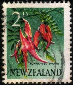 NEW ZEALAND 1960 2d Kowhai error ZFALAND - used - CP cat NZ160 mint........47099