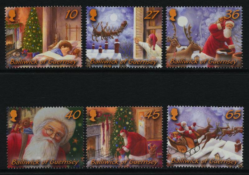 Guernsey 810-15a in Folder MNH Night before Christmas, Santa