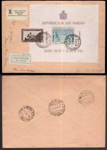 San Marino, foglietto Indipendenza del 1937 su raccomandata fdc     -BL57