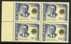 NICARAGUA 1958 90c Edward G. Barry LIONS INTERNATIONAL BLK4 Airmail Sc C412 MNH