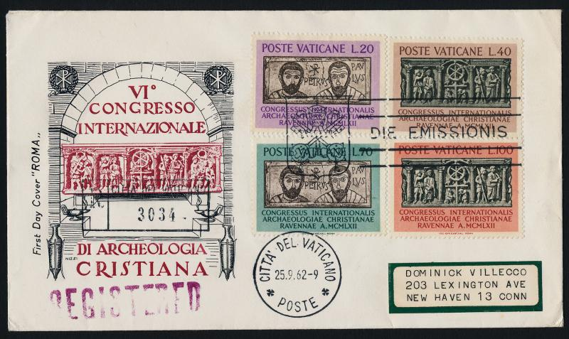 Vatican 341-4 on registered FDC - Christian Archaeology, Saints Peter and Paul