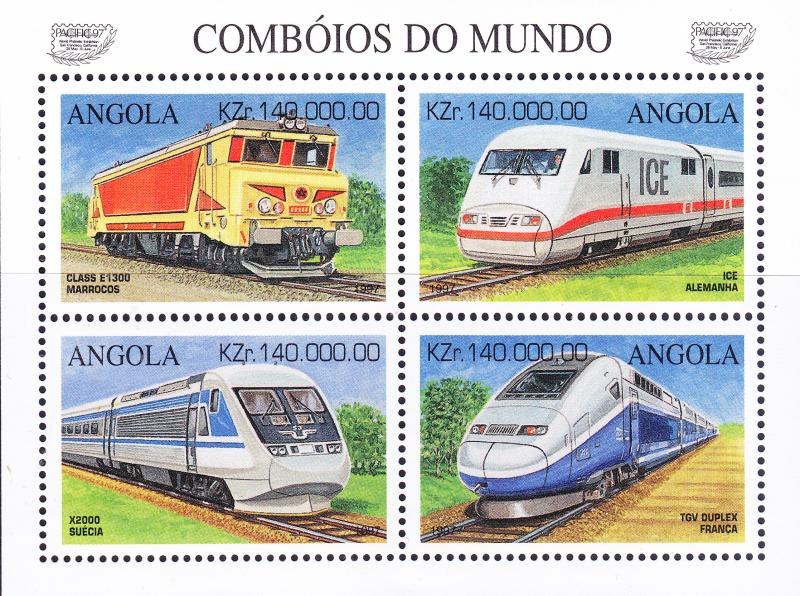 Angola 1997 Fast Trains Sheet  VF/NH(**)