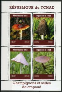 Chad Stamps 2019 MNH Mushrooms & Toadstools Champignons Fungi Nature 4v M/S