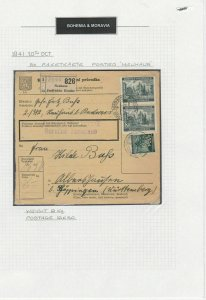 Bohemia Moravia 1941 Stamps Packet Reciept Ref: R6349