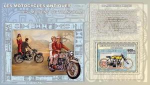 Congo - Antique Motorcycle  Souvenir Sheet 3A-182