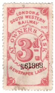 (I.B) London & South Western Railway : Newspaper Label 3d