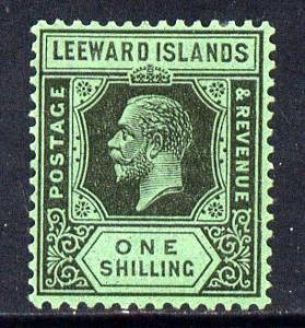 Leeward Islands 1921-32 KG5 Script CA 1s black on emerald...