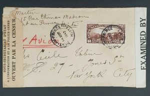 1942 Port Au Prince Haiti to New York City Censorship WWII Air Mail Cover