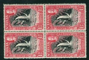 ST. LUCIA; 1936 early GV pictorial issue Mint hinged Block of 1.5d. value