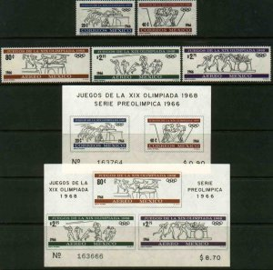 MEXICO 974-C320a Second Pre-Olympic surface & air mail set MINT, NH. F-VF.