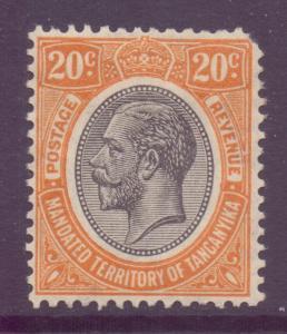 Tanganyika Scott 32 - SG96, 1927 George V 20c MH* fault