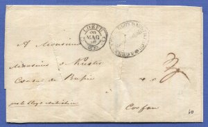 AUSTRIAN LLOYD 1856 CONSTANTINOPLE Disinfected Stampless cover to CORFU