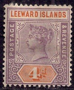 Leeward Islands 1890 QV 4d Mauve & Orange MM SG 4 ( G1043 )