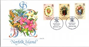 Worldwide First Day Cover, Royalty, Flowers, Norfolk Islands