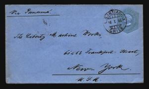 Chile 1895 Stationery (Blue) Cover to NY - Z14685