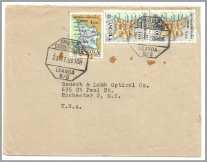 ANGOLA (Portugal) 1959 Commercial Airmail Cover - Map stamps (3)