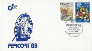 COSTA RICA FERCORI '85, FISHING,EXPORT FLOWERS Sc 286,C801 COVER 1985