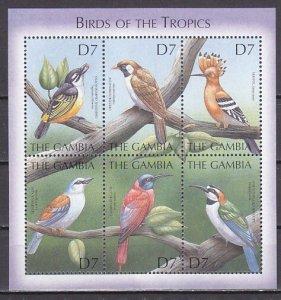 Gambia, Scott cat. 2348 a-f. Various Birds sheet. ^
