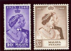 Malaya - Penang 1948 KGVI Silver Wedding set complete MNH. SG 1-2. Sc 1-2.