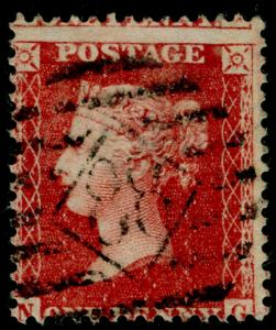 SG40, 1d rose-red, LC14, USED. Cat £12. NG