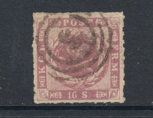 Denmark Sc 10 used. 1863 16s violet Coat-of-Arms, 3 in target cancel, sound, VF