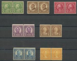 #597-603 (7) DIFFERENT VF OG LH LINE PAIRS 1¢ & 1 1/2¢ ARE NH CV $109 BT9457