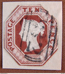 Great Britain SG57 10p Red Brown Queen Victoria CUT To Shape USED