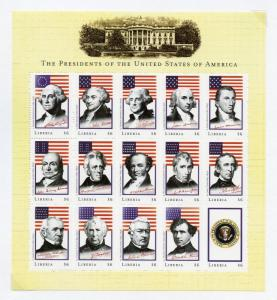 LIBERIA SET OF THREE SHEETS UNITED STATES PRESIDENT WASHINGTON-CLINTON   MINT NH