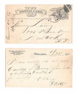 UX5 1876 Phila PA Fancy Cork Cancel Turner Andrew Leather Henry Lang Newark NJ