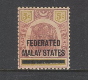 Malaya Sc 9 MLH. 1900 5c lilac & olive Tiger with overprint