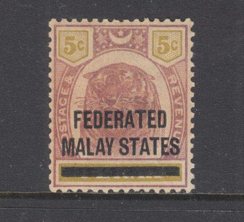 Malaya Sc 9 MLH. 1900 5c lilac & olive Tiger with overprint