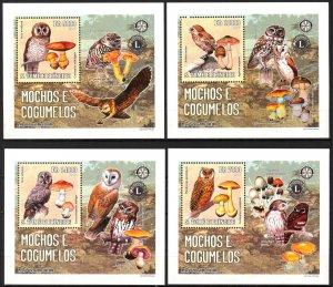 {041} Sao Tome & Principe 2006 Birds Mushrooms Lions Club 4 S/S Deluxe MNH**